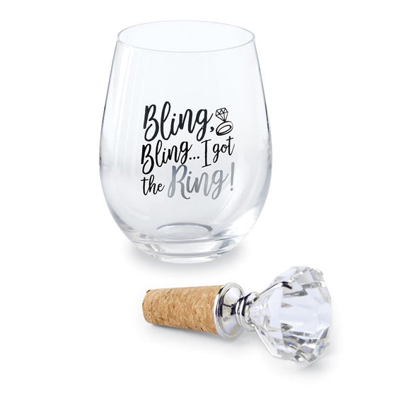 I Got The Ring Wine Glass Topper Set