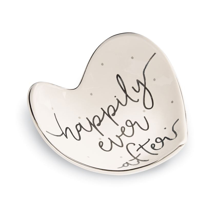 Happily Ever After Ceramic Heart Trinket Dish
