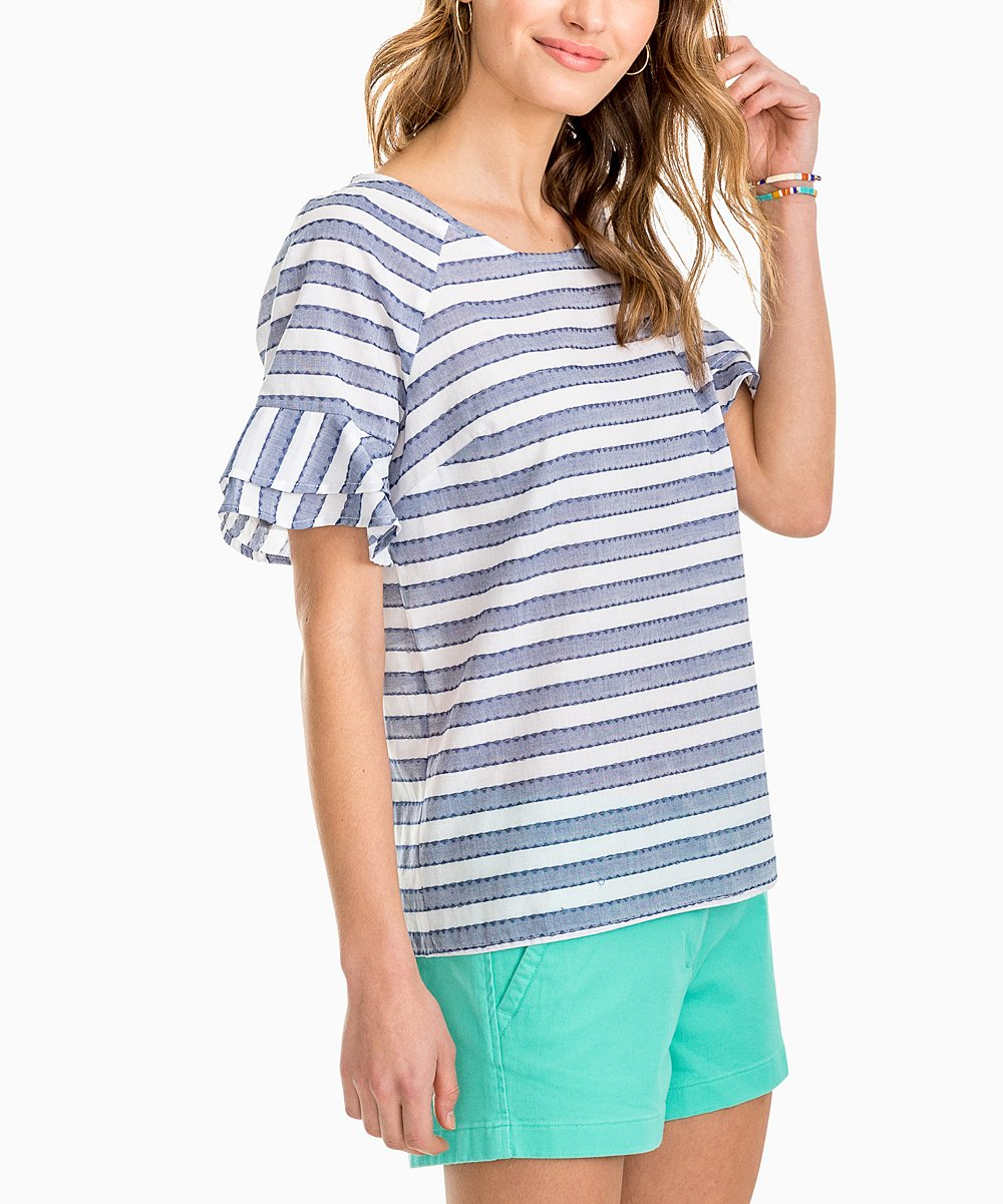 Southern Tide Blue Night Striped Top