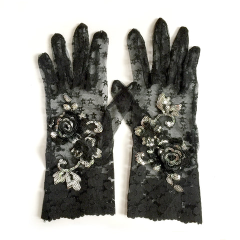 black lace gloves with sequins and beads