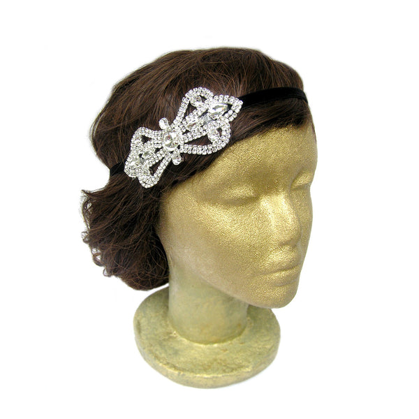 Rhinestone Flapper Headpiece, Gatsby Headband, Bow Hair