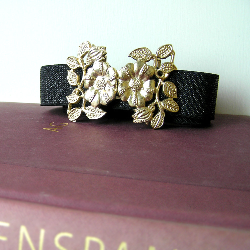 Vintage Gold Flower Waist Belt, Black Evening Belt, Jewelled Belt for Wedding Dress