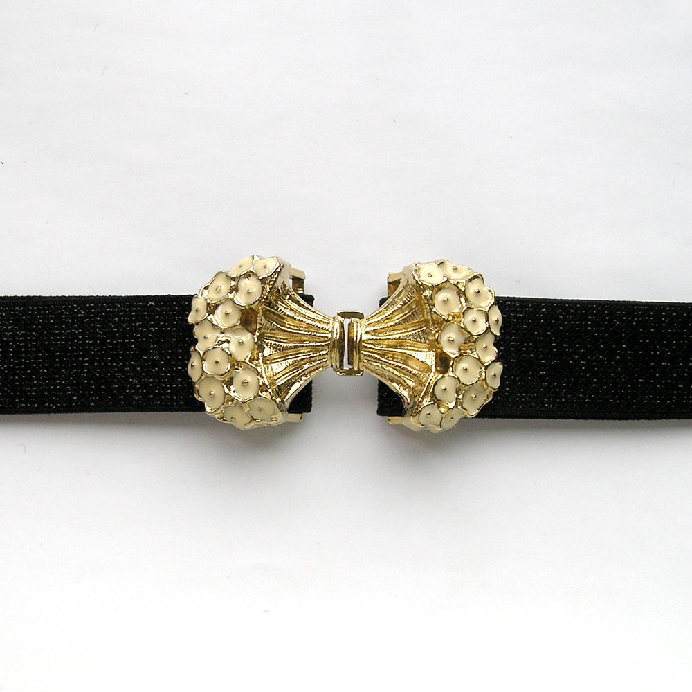 Vintage Elastic Cinch Belt, Gold Elastic Waistband, Flower Belt Buckle from Japan