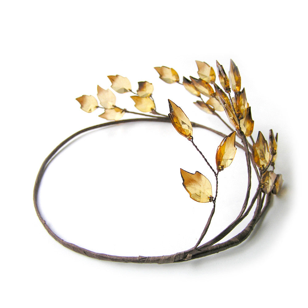 Leaf Crown Gold, Leaf Wedding Hair Accessories, Greek Goddess Hair, Handmade