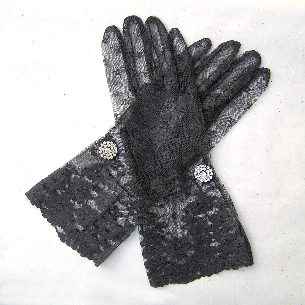 Black Lace Gloves, Opera Gloves, Long Black Evening Gloves, Burlesque, Victorian, Edwardian