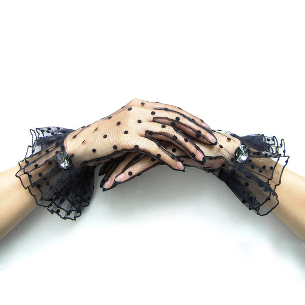 Black Polka Dot Gloves, Black Lace Gloves with Rhinestone Jewelty