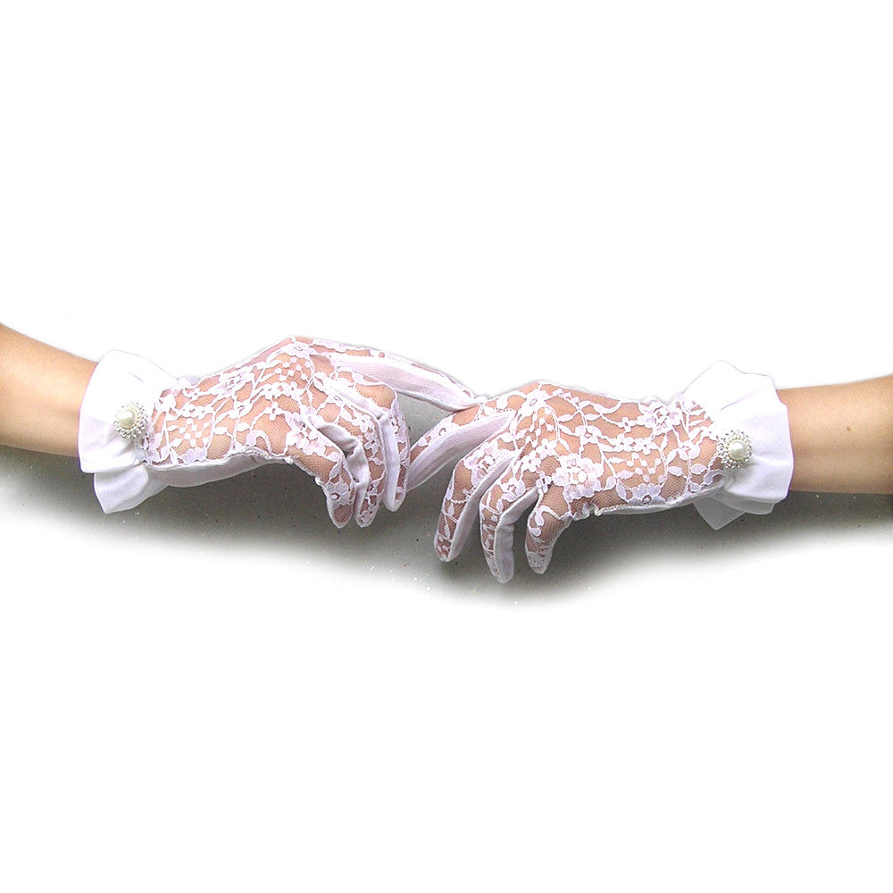White Lace Gloves, Lace Wedding Gloves with Pearl and Rhinestone Jewelry