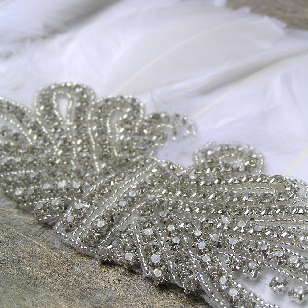 White Feather Bohemian Headpiece Wedding, White Feather Hair Accessory, Boho Rhinestone Headband