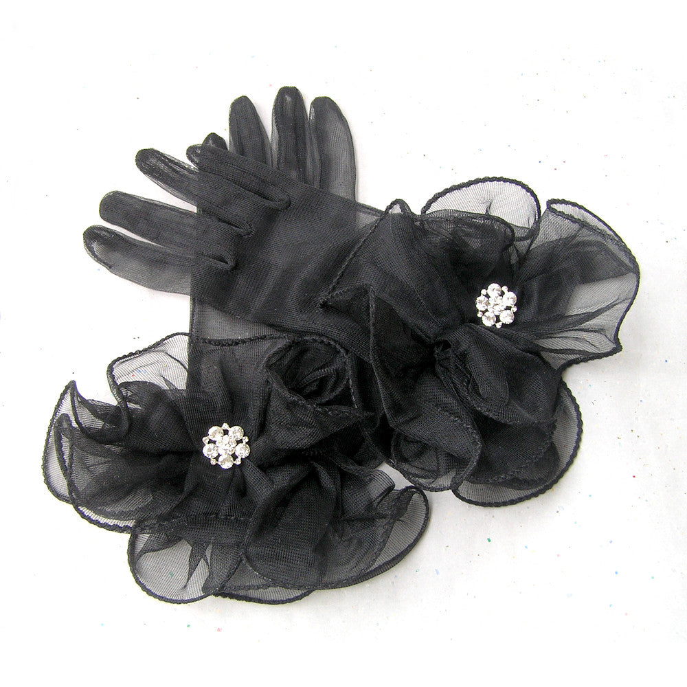 Sheer Black Gloves, Vintage Style Evening Gloves with Rhinestone Jewelry