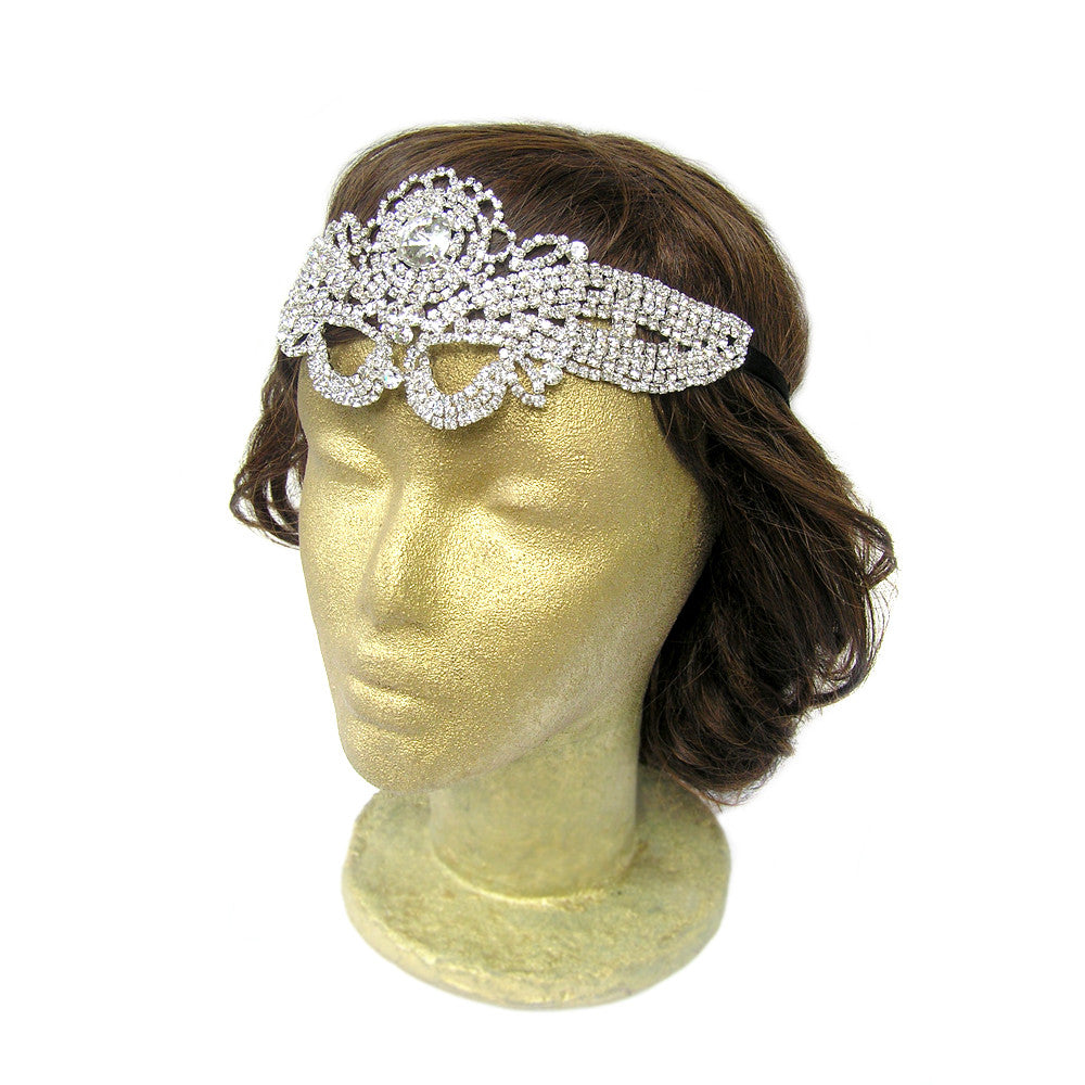 Rhinestone Flapper Headpiece, Statement Wedding Hair Piece, Celtic Medieval Headpiece