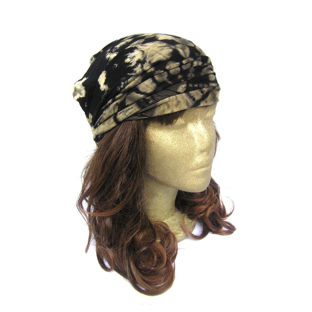 Black Headband Women with Pattern, Black Workout Headband, Black Tie Dye Hippie Headband