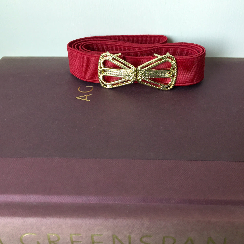 Women Red Dress Belt, Vintage Gold Belt Buckle from Japan, Elastic Belt Ladies