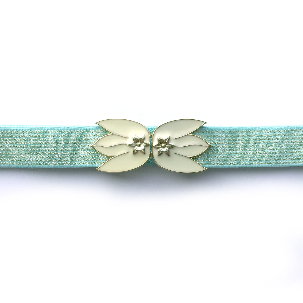 Skinny Belt for Dress, Mint Green and Glitter Gold Elastic Belt, Custom Leaf Belt