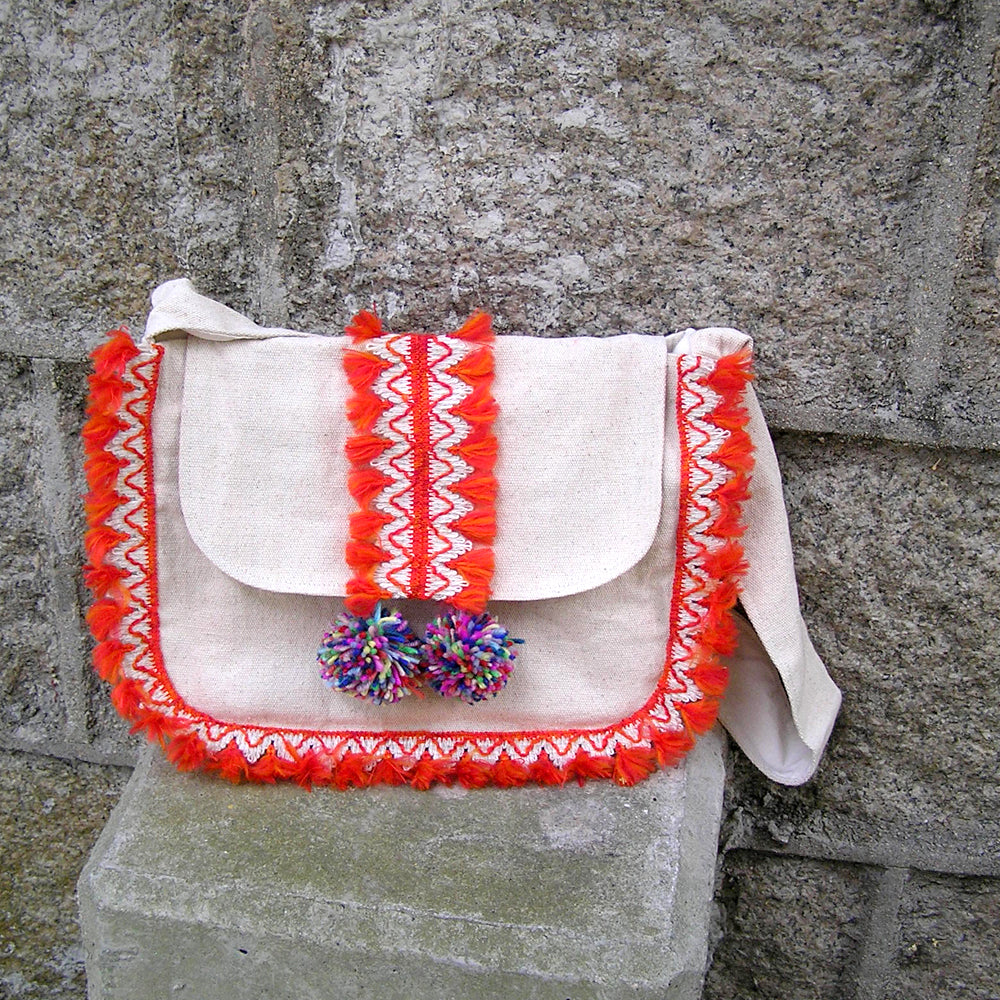 Bohemian Boho Bag Travel Bag, Large Summer Fabric Bag with Fringe Trims, Shoulder Crossbody School Bag