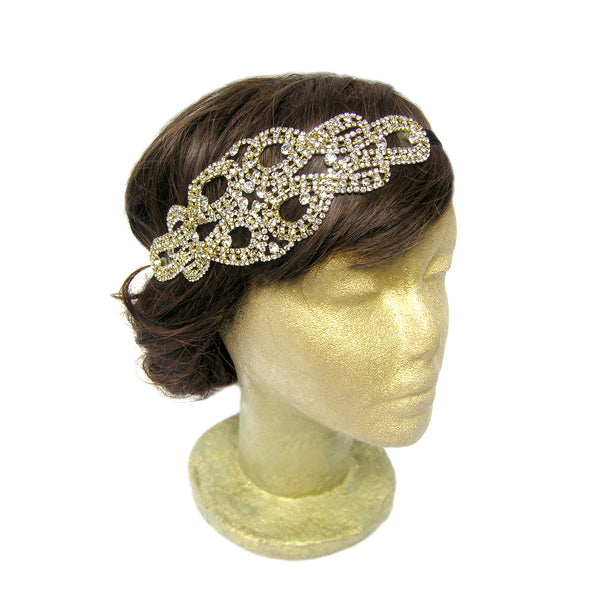 Gold Wedding Hair Piece, Downtown Abbey Headband, Gold Rhinestone Headpiece