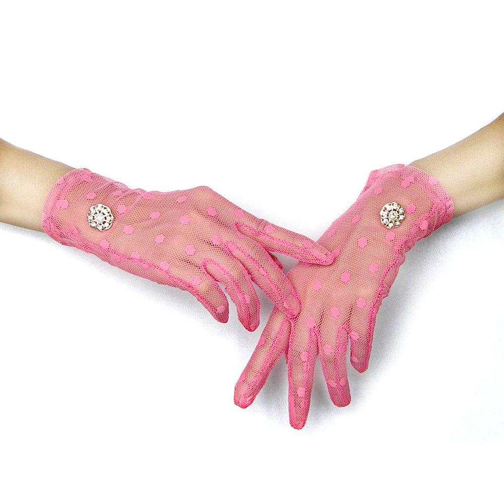 Pink Gloves, Pink Polka Dot Lace Gloves with Rhinestone Jewelry