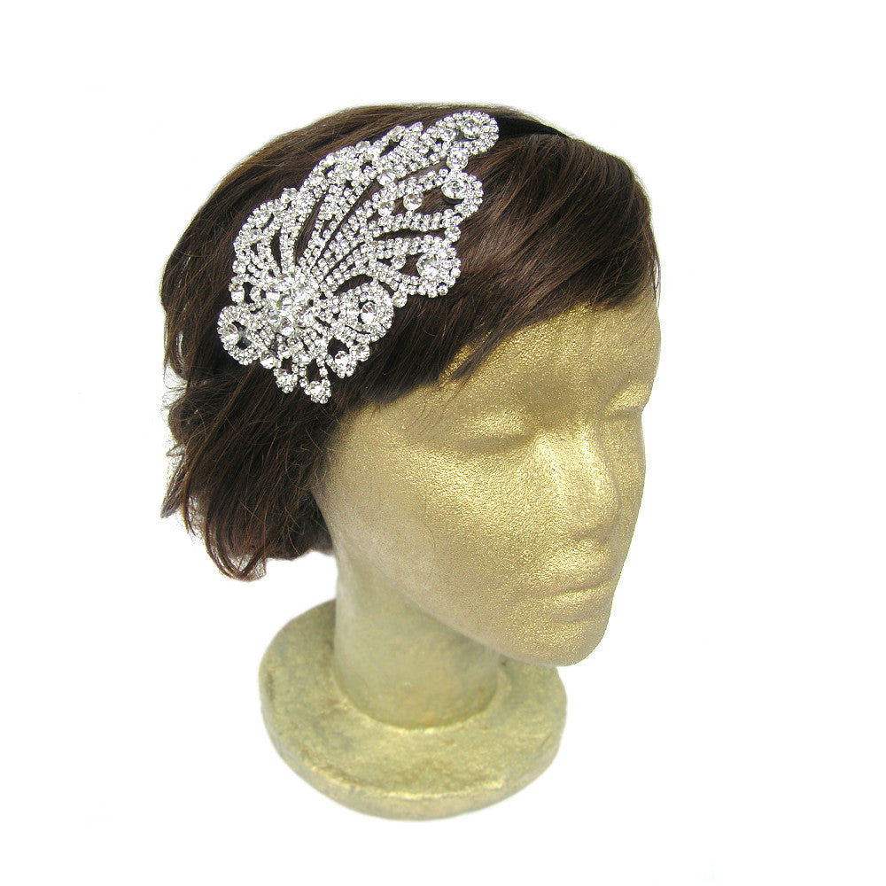 Flapper Headband, Rhinestone Wedding Hair Accessories, Custom Clothing