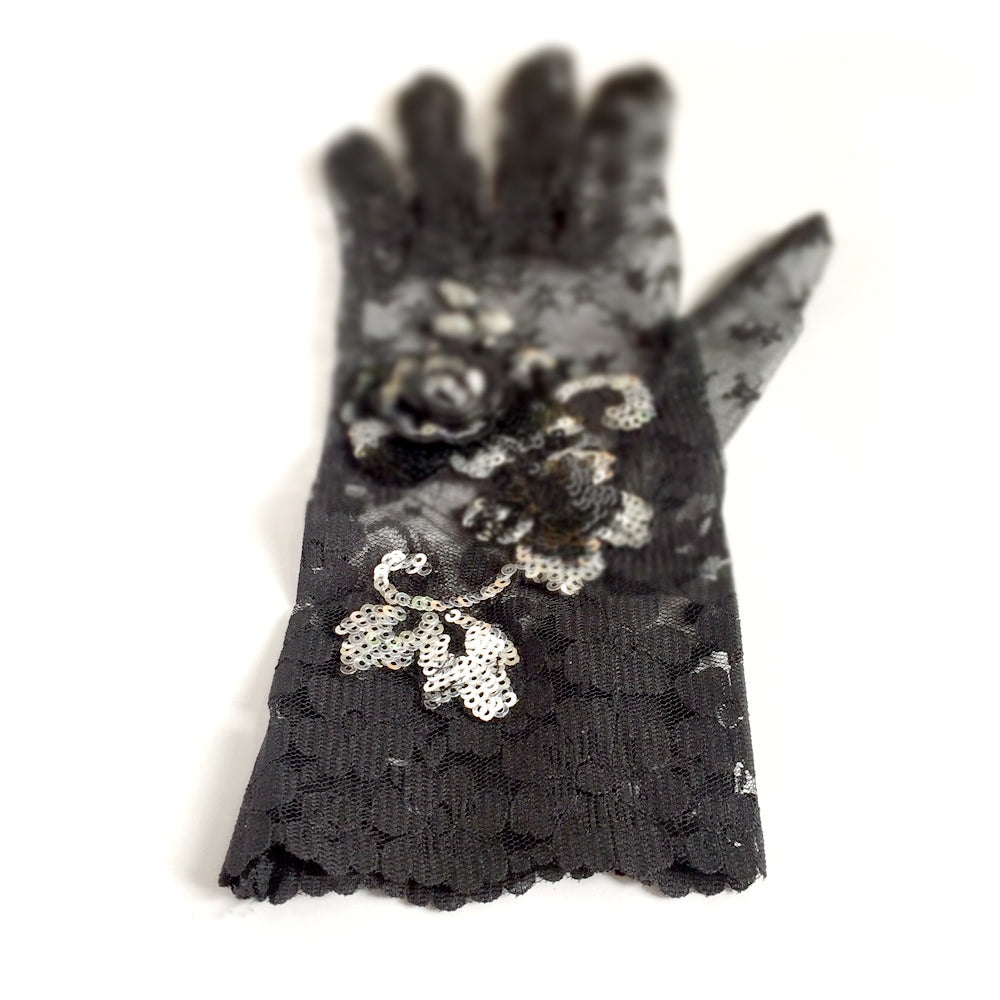 Black Lace Gloves with Black and Silver Sequins, Black Fancy Dress Gloves, Wedding, Gothic