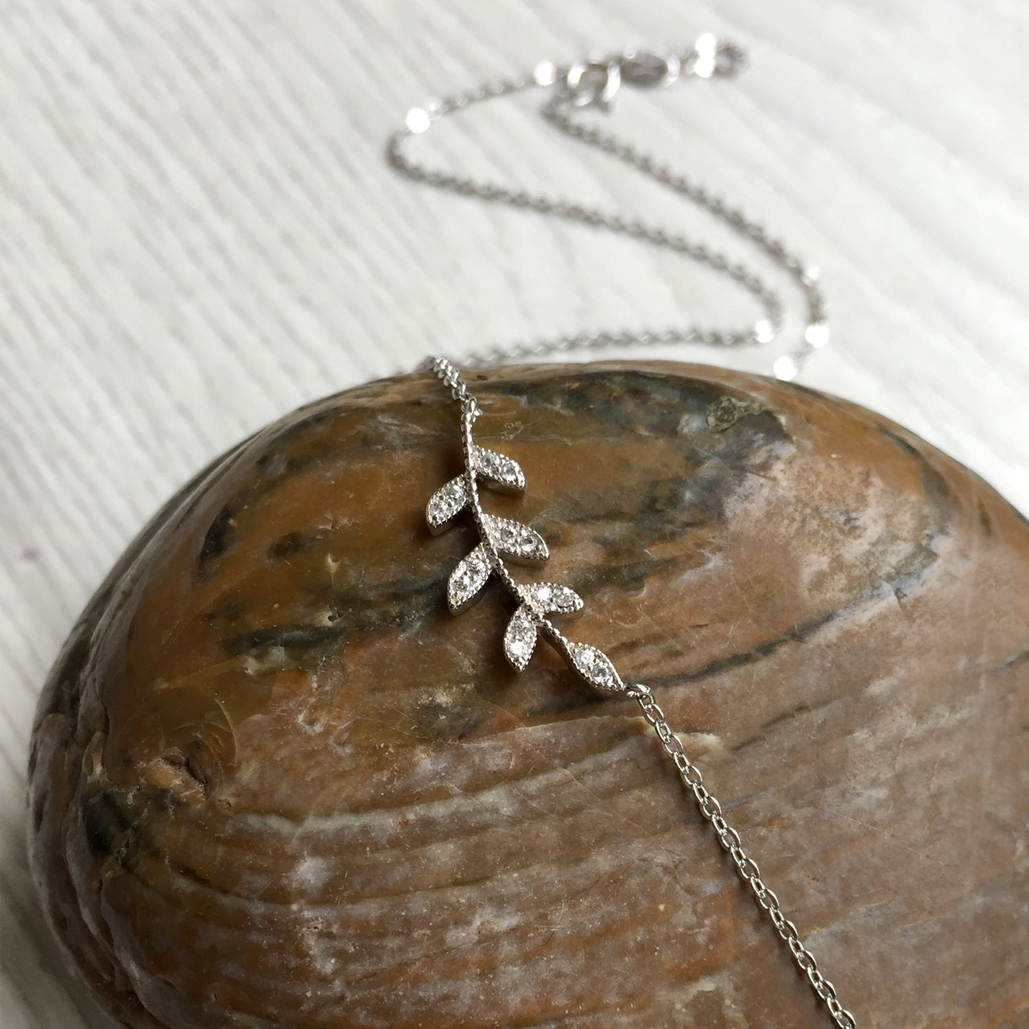 Sterling Silver Leaf Necklace, Delicate Silver Necklace, Valentines Day Gift Idea