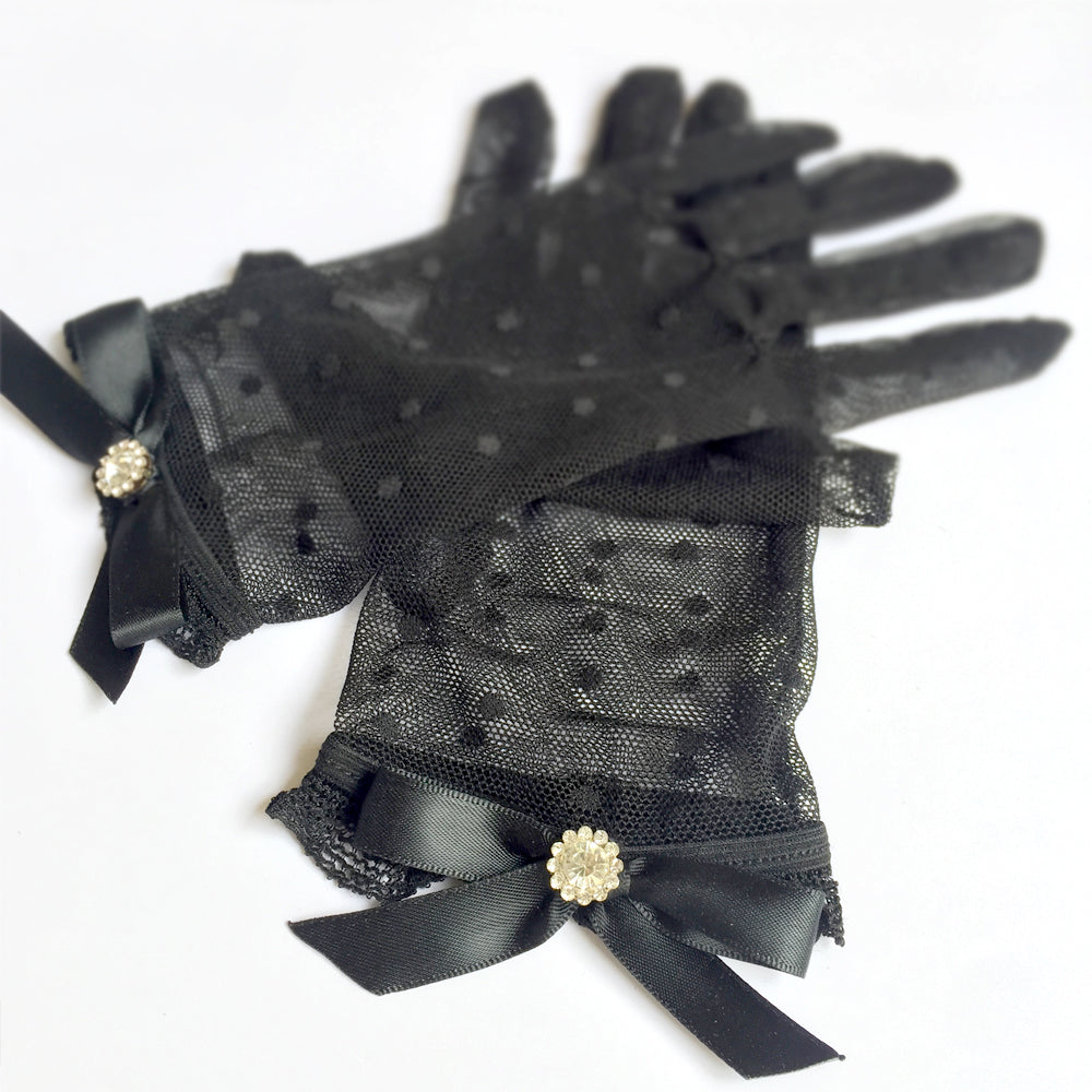 Black Polka Dot Lace Gloves, Black Lace Short Gloves with Bow and Rhinestone Jewellery