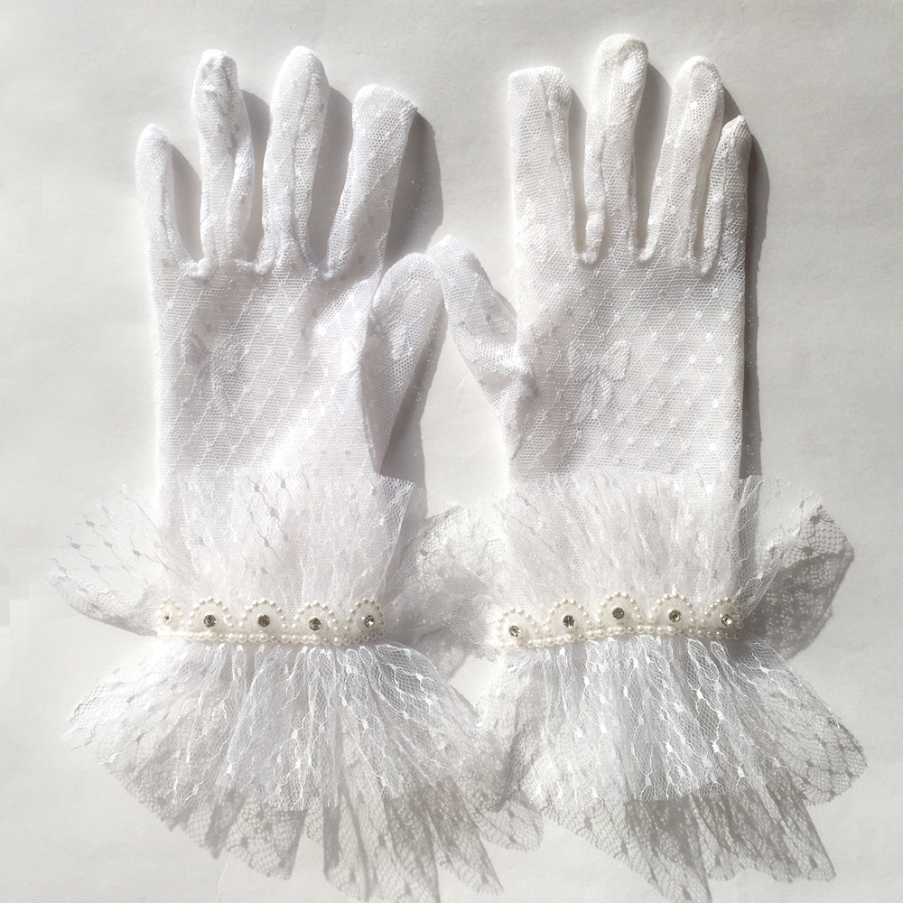 Vintage Wedding White Lace Bridal Gloves, Wrist Gloves, Short Lace Gloves with With White and Silver Sequin