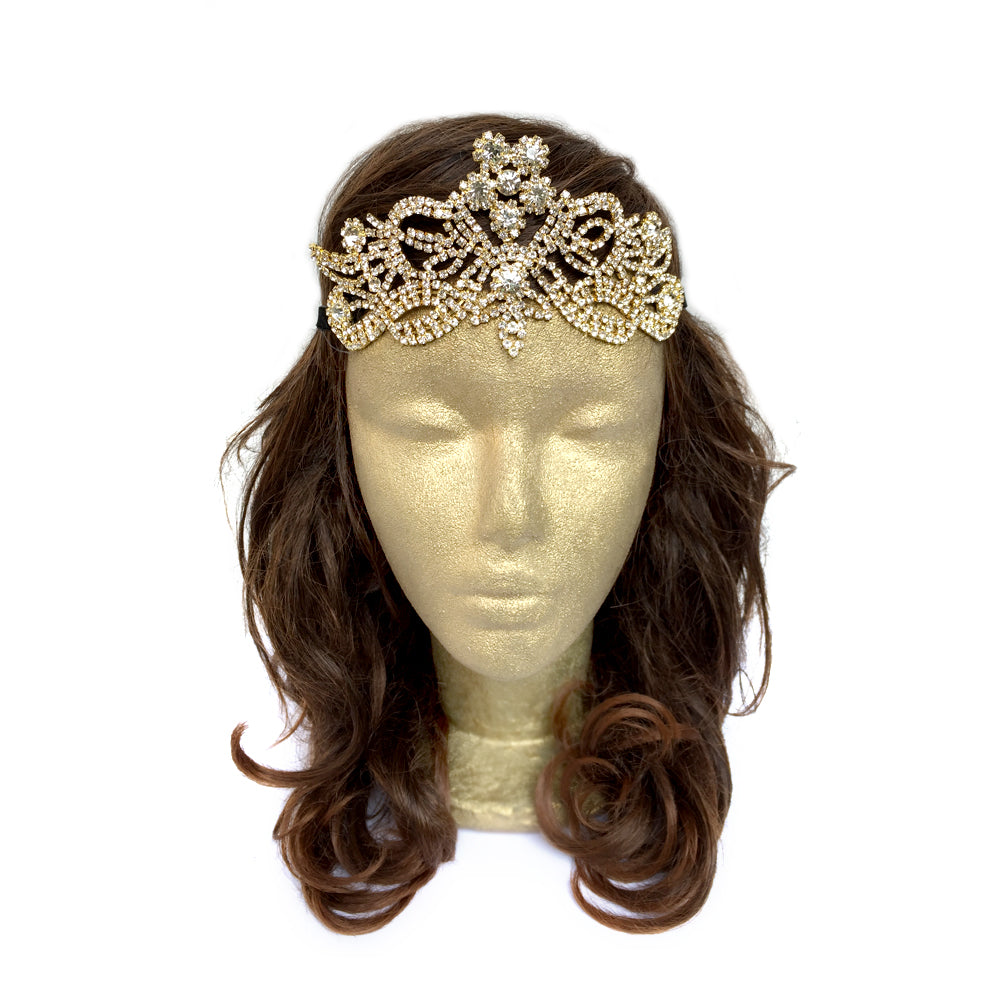 Boho Wedding Hair Piece, Gold Rhinestone Bridal Hair Accessory, Celtic Elvish Hair