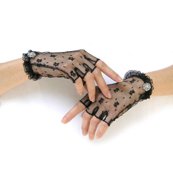 Black Lace Gloves, Sheer Gloves, Black Fingerless Gloves with AB Rhinestone Jewelry