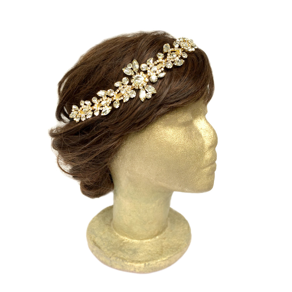Rhinestone Headpiece for Wedding, Silver Gold Hair Accessory for Vintage Wedding, Hair Jewelry for Boho Wedding