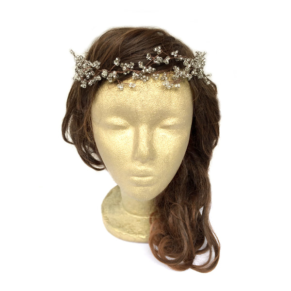 Rustic Wedding Hair Accessory, woodland Hair Wreath, Beaded Wire Headdress