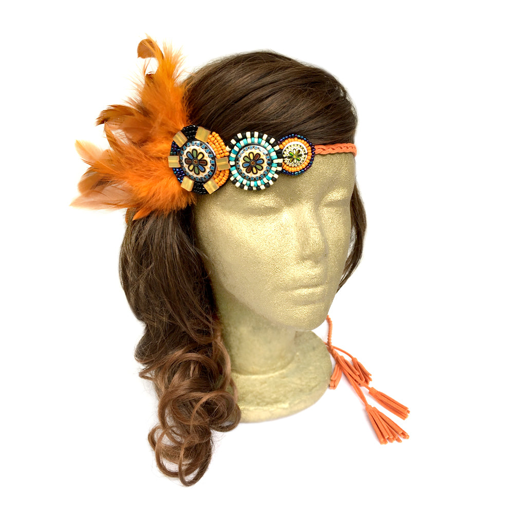 Bohemian Feather Headband, Feather Headband Boho, Hippie Headband Costume