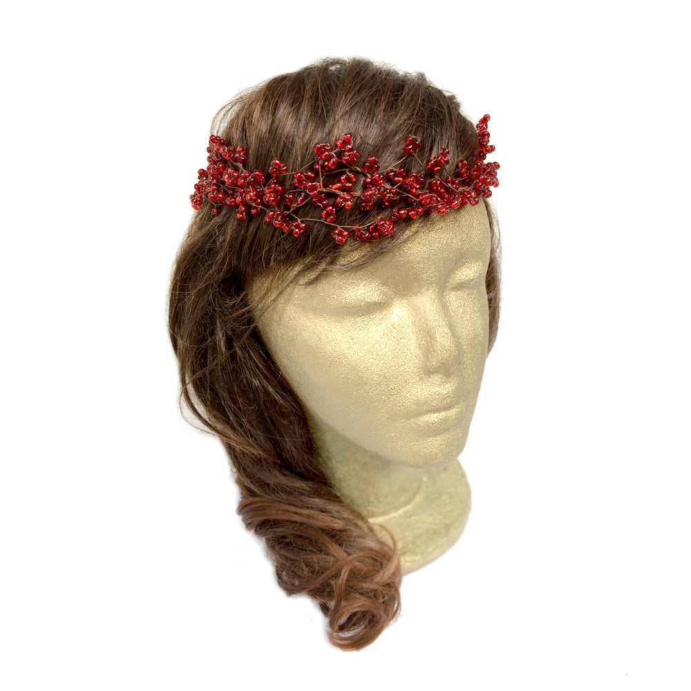 Red Hair Accessory for Wedding, Handmade Woodland Hair Wreath, Beaded Wire Headband
