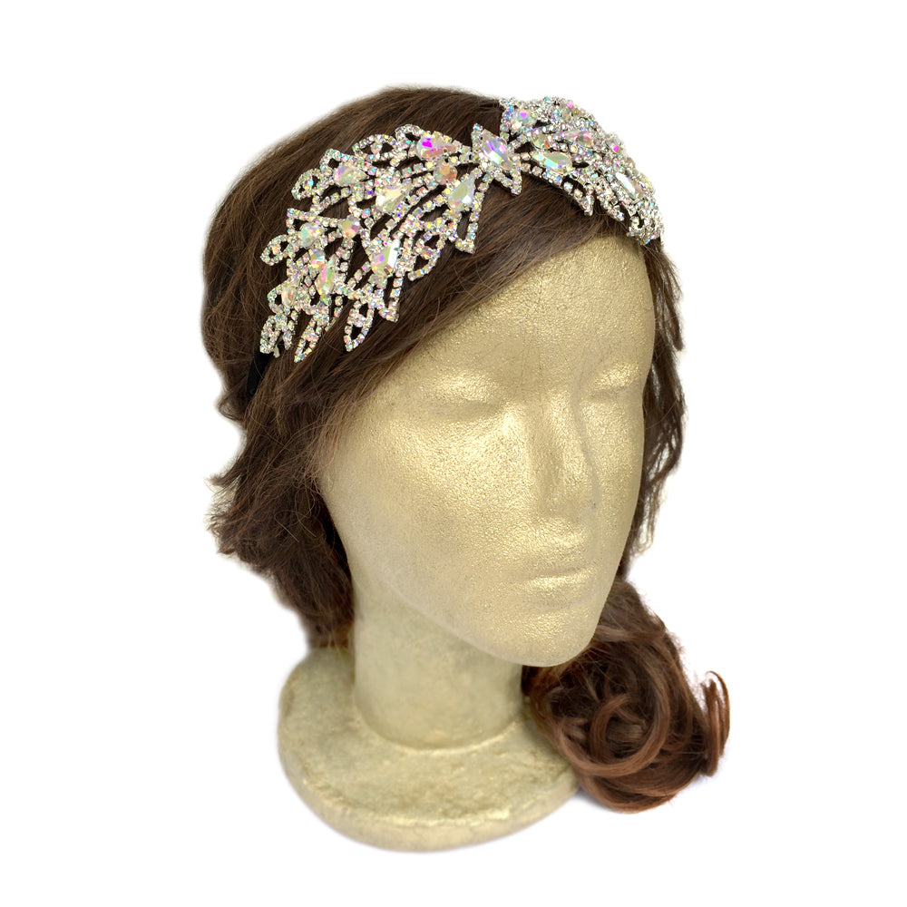 Gold Bridal Headpiece, Snowflake Headband Wedding, 1940s Vintage Style Hair Accessories