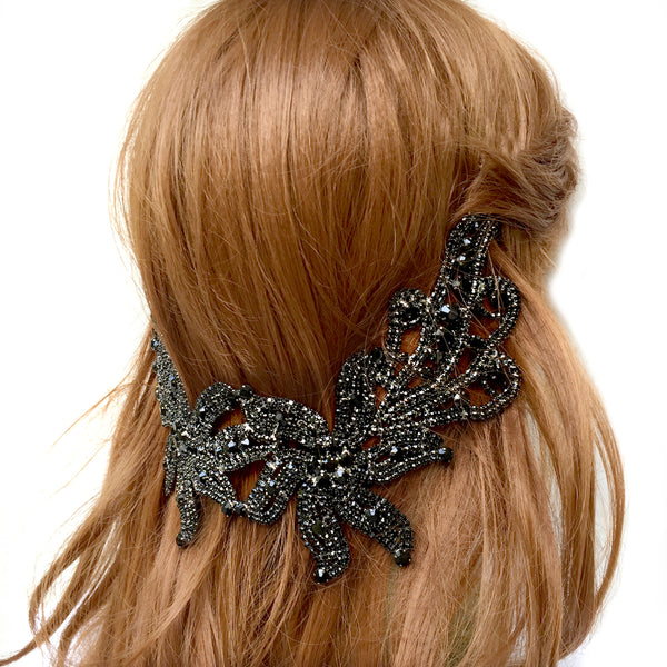 Black Rhinestone Headband, Rhinestone Headbands for Weddings, Bohemian Headpiece for Back of the Head