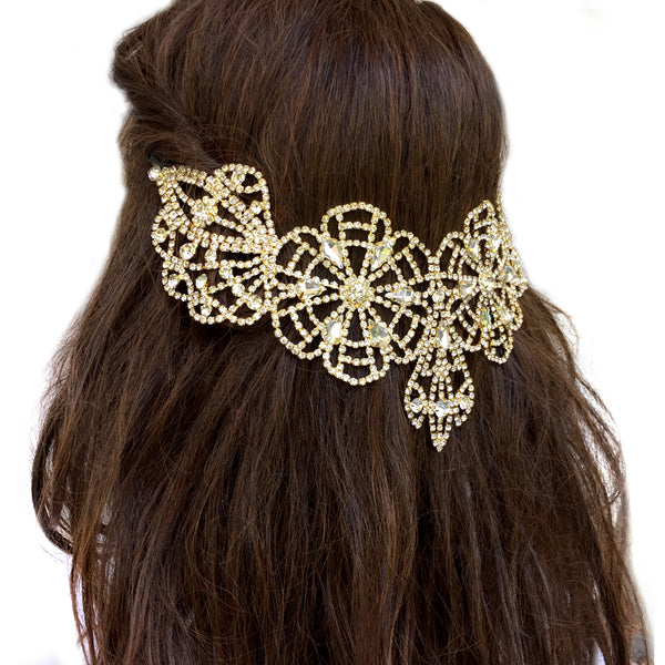 Gold Bridal Hair Comb, Vintage Statement Wedding Hair Accessory, Rhinestone Hair Comb