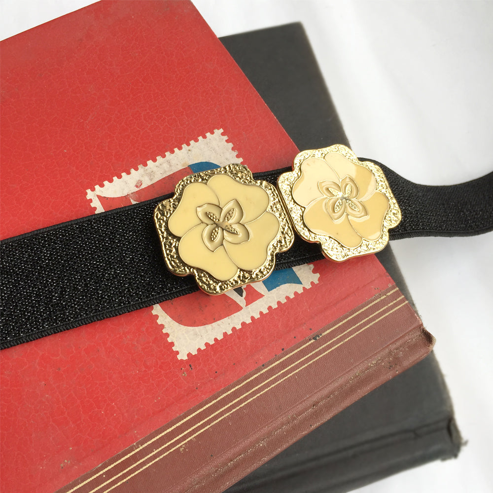 Flower Belt Buckle from Japan, Custom Vintage Elastic Cinch Belt, Gold Elastic Belt, 1920s accessories