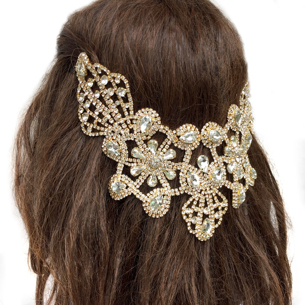 Wedding Hair Accessories Gold, Hair Jewelry Bridal Gold, Statement Hair Piece Dance