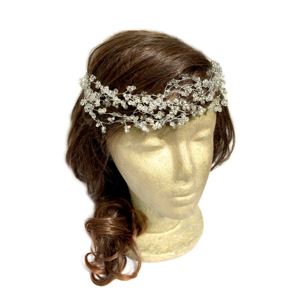 Wedding Hair Tiara, Silver Wire Crown, Bridal Halo Headband