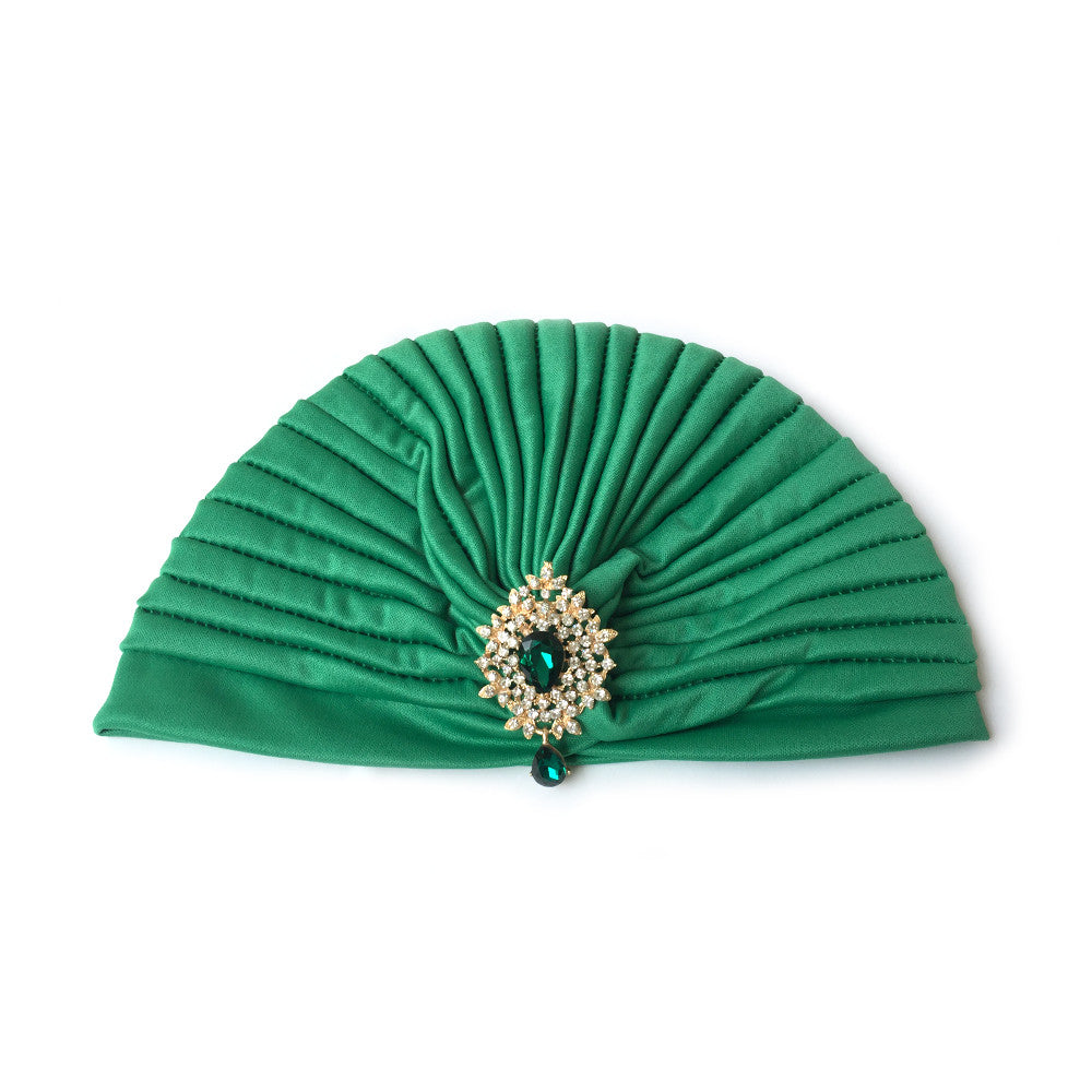 Green Turban Hat, Turban Hijab with Rhinestone Jewelry, Green Hat, 1930s
