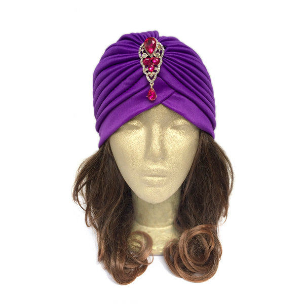 Great Gatsby Themed Clothes, Vintage Themed Party Wear, Purple Turban Hat