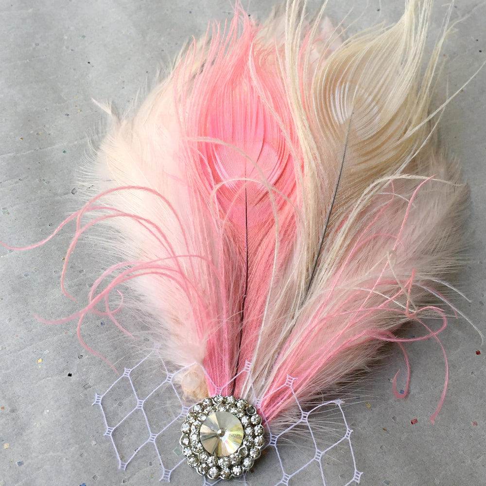 Peacock Feather Wedding Hair Piece, Hair Clip for Wedding, Bridal Feather Fascinator Rhinestone Jewelry