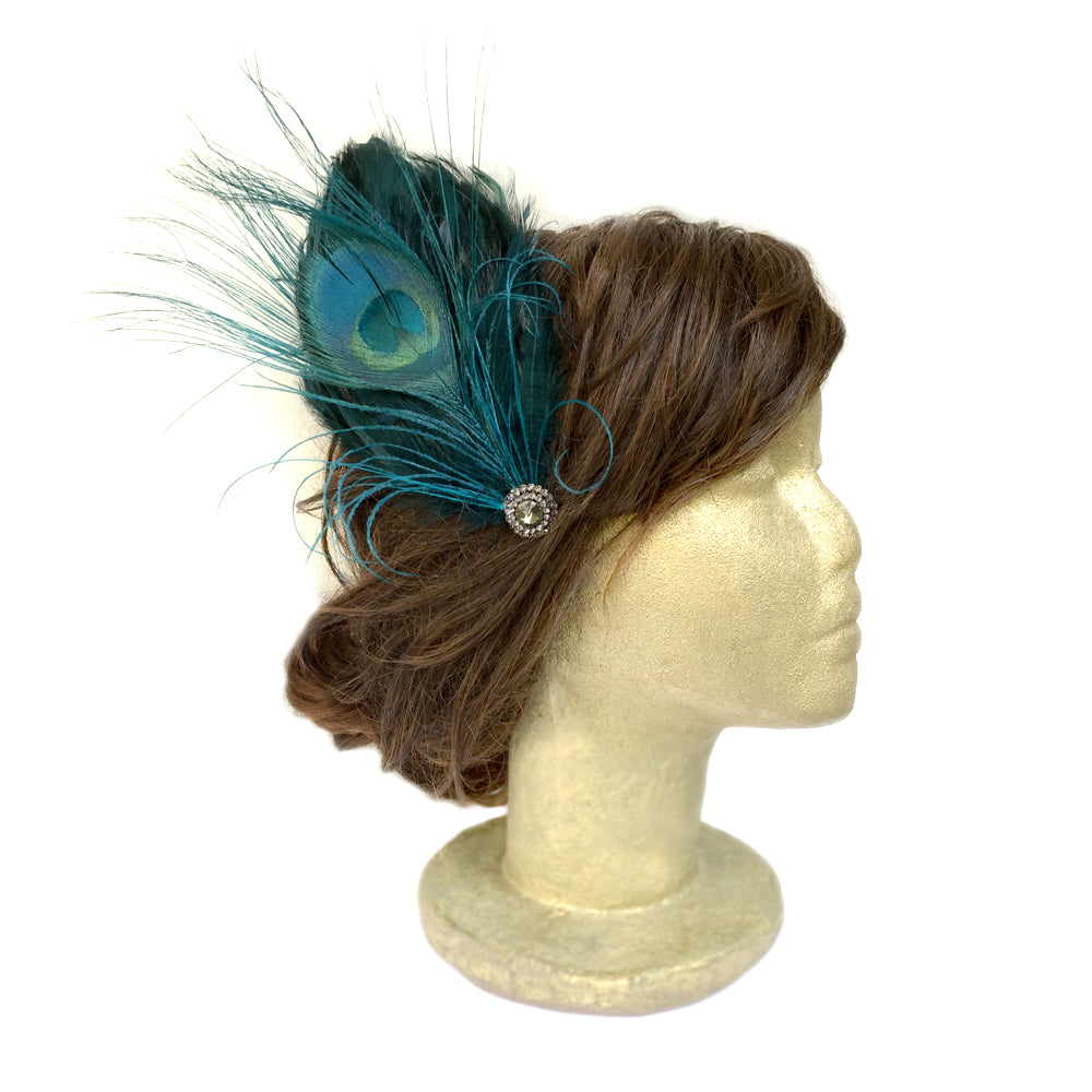 Peacock Feather Fascinator Wedding, Vintage Style Bridal Hair Clips, Hair Piece Brooch Pin