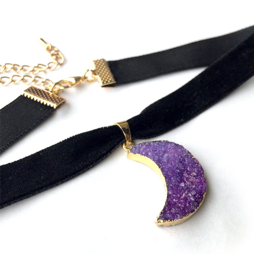 Druzy Choker Necklace, Moon Necklace Violet, Amethyst Druzy Necklace Choker