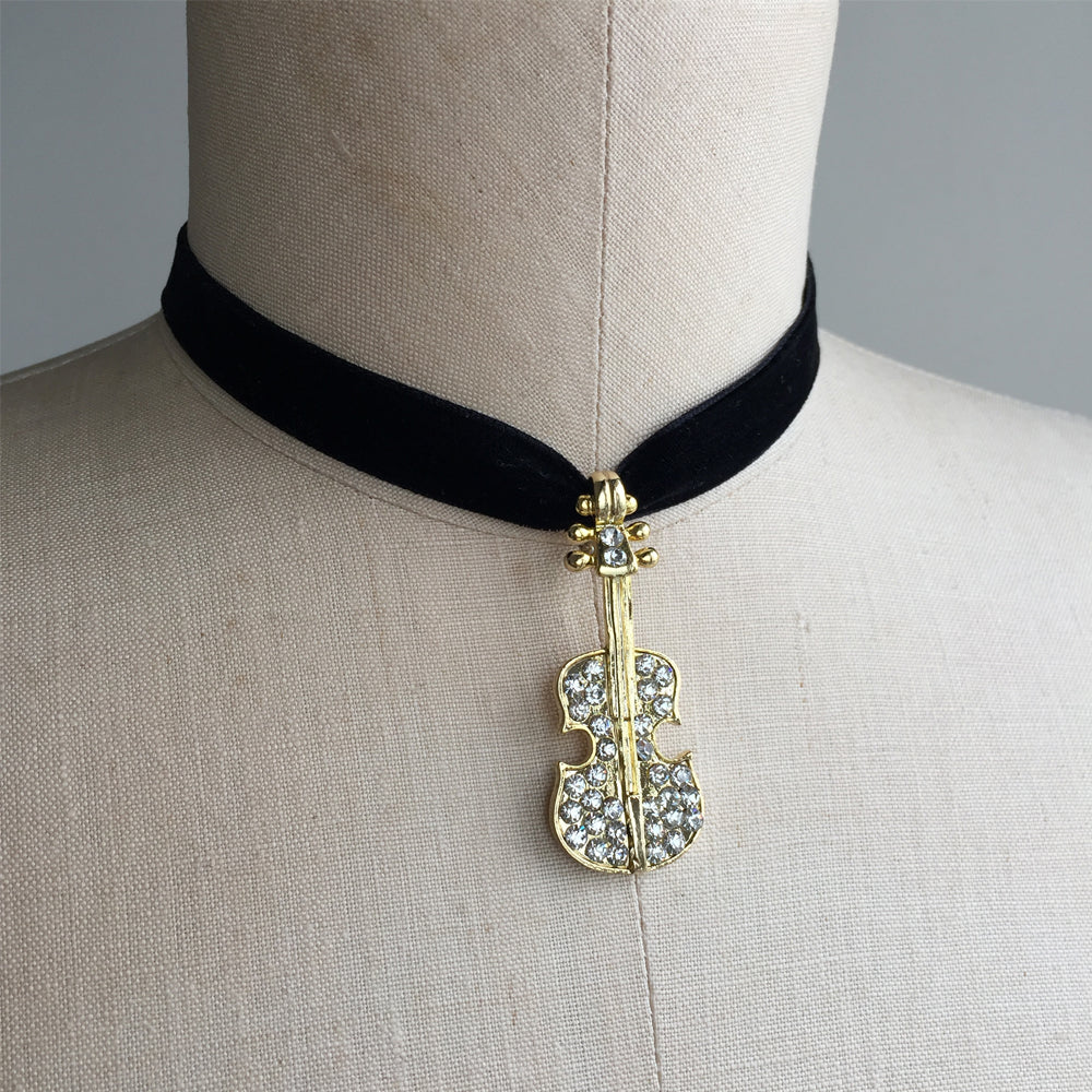 Violin Choker Necklace, Musician Jewelry, Violin jewelry with Rhinestone