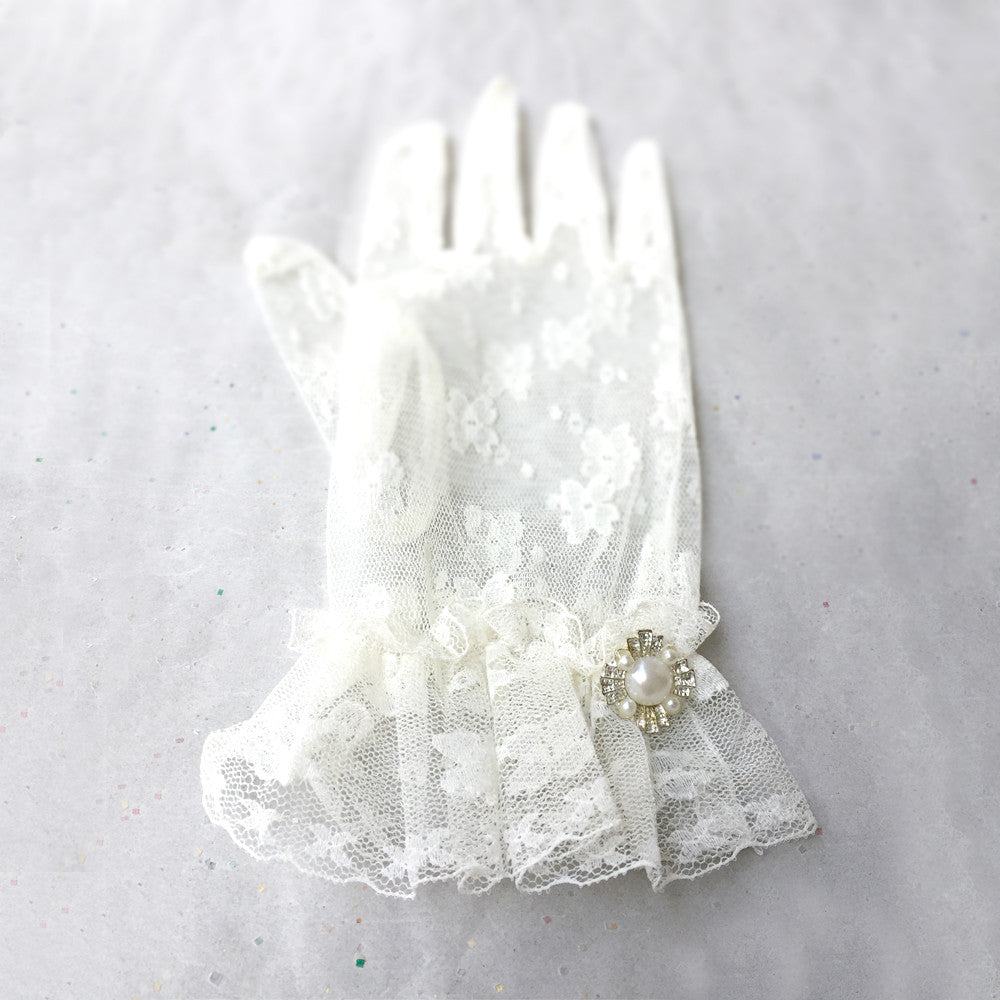 Ivory Lace Bridal Gloves, Lace Wedding Gloves Ivory, Ladies Short Dress Gloves