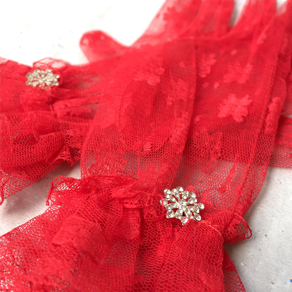 Red Bridal Gloves, Red Wedding Gloves, Gothic Accessories