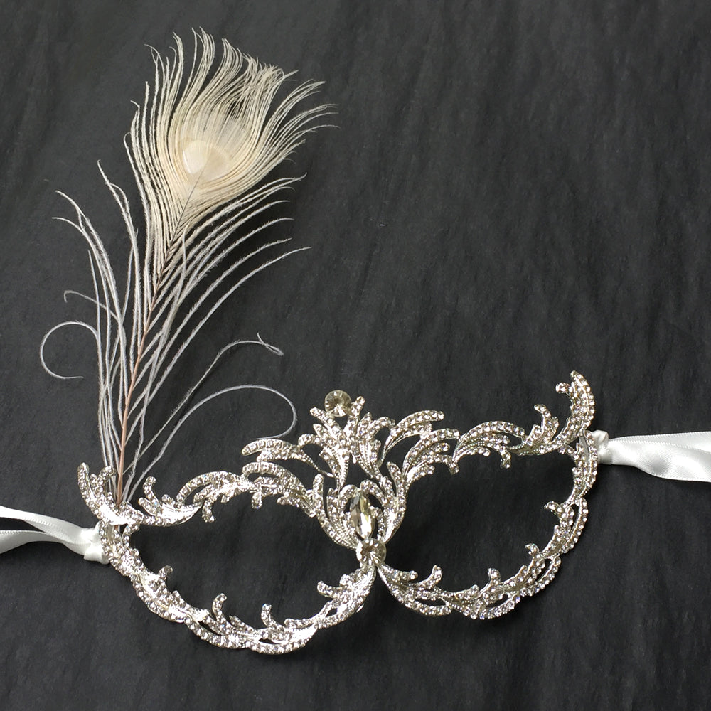 Silver Masquerade Mask for Women, Prom Ball Masquerade Mask, Carnival Face Mask