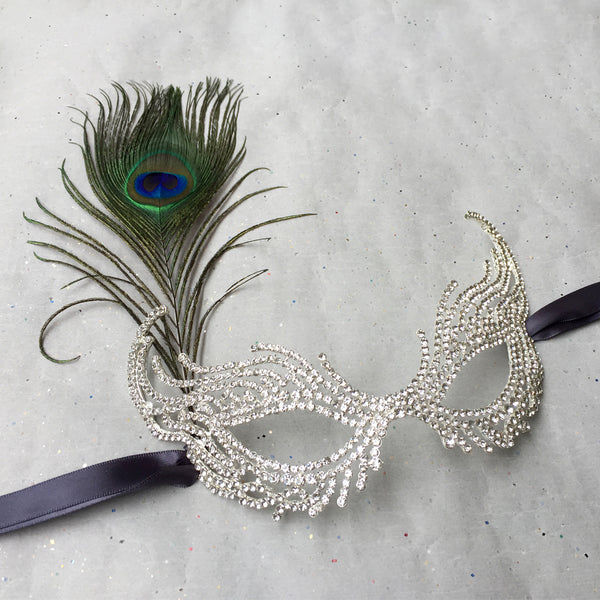 Masquerade Ball Masks Costume, Rhinestone Face Mask, Venetian Mask with Peacock Feathers