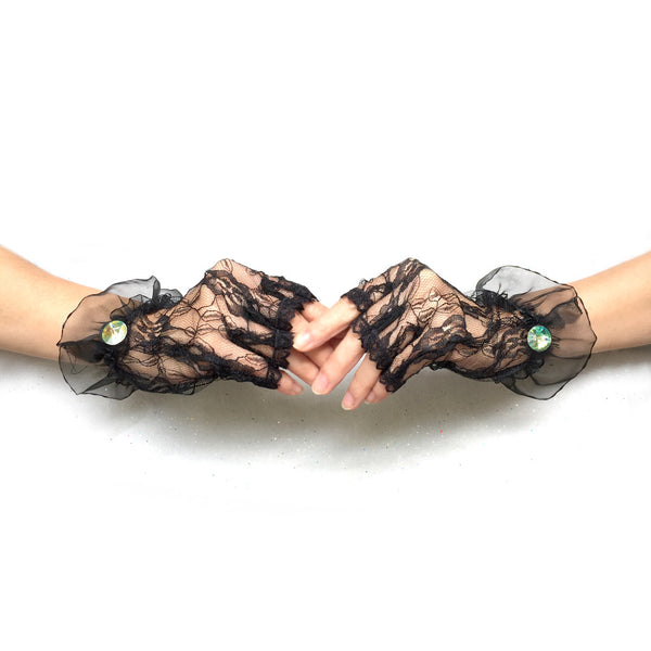 Women Black Lace Fingerless Gloves with Rhinestone Jewelry, Black Gloves