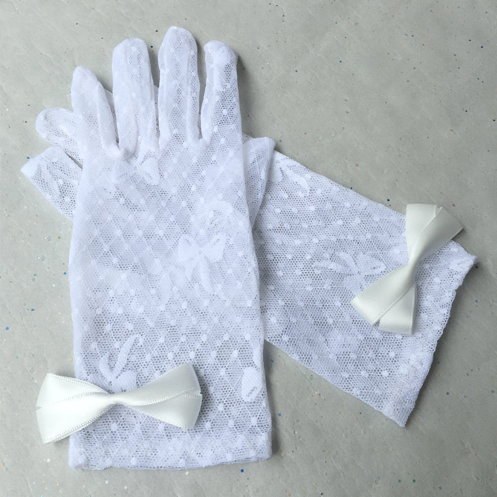 White Lace Gloves for Wedding, Sheer Short Gloves Wedding, Bridal Lace Gloves