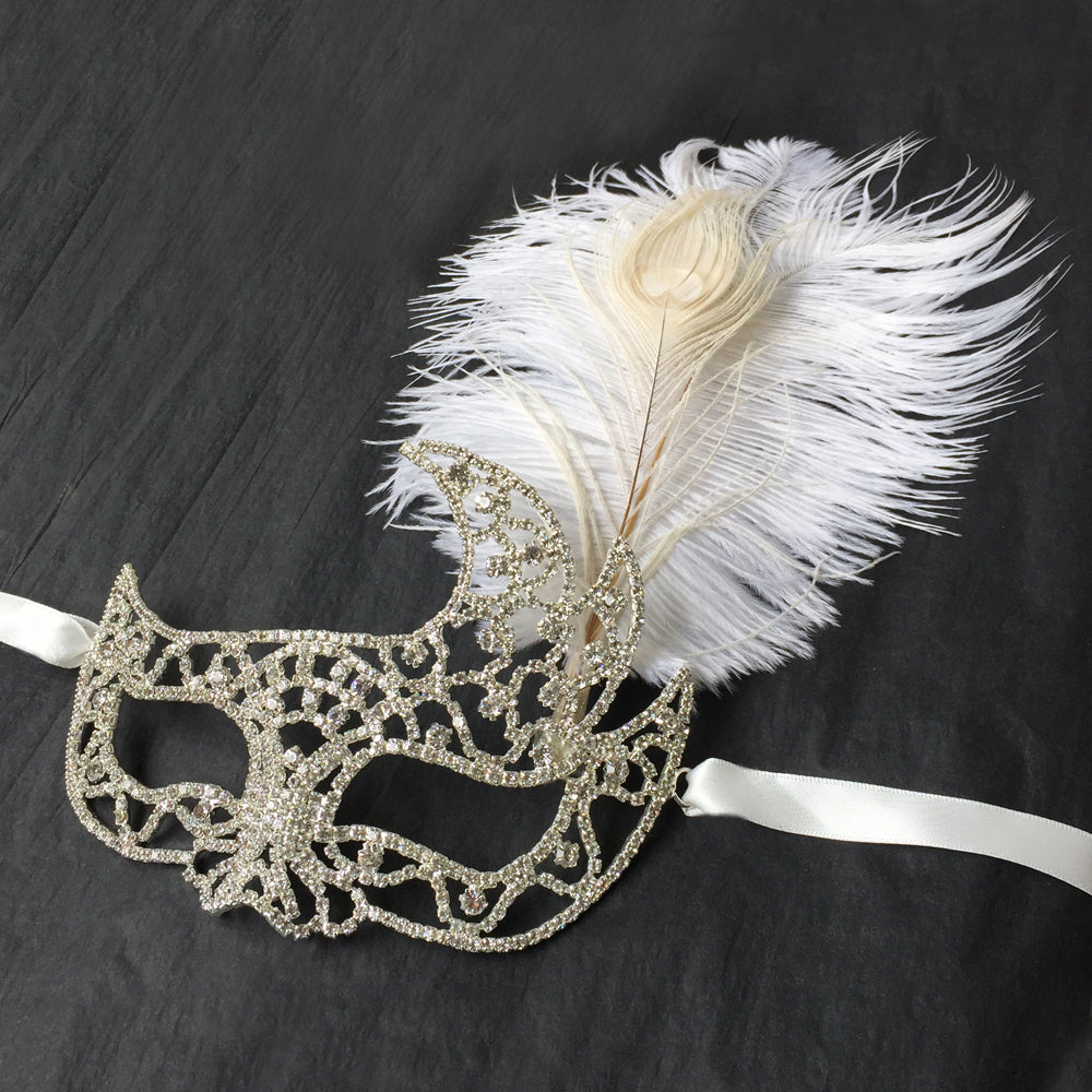 Silver Rhinestone Masquerade Mask, Masked Woman Costume, Theme Party Masquerade